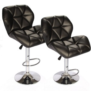 SET of (2) Black Bar Stools Leather