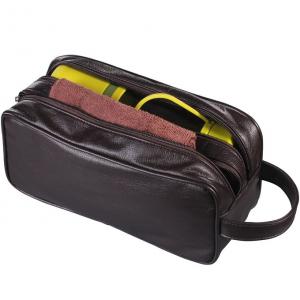 HappyDavid PU Leather Zipped Travel Toiletry Bag