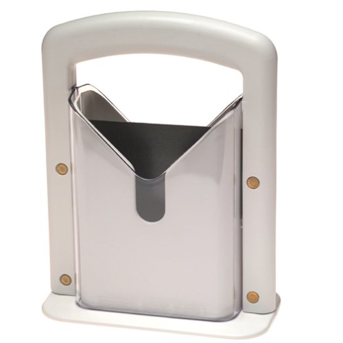 White Plastic and Stainless Steel Bagel Guillotine