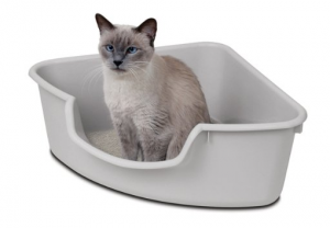 Corner Cat Litter Box - Reduce mess while saving space
