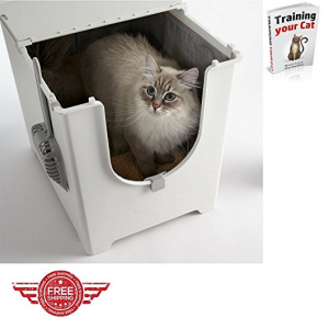 modern flip top corner enclosed cat litter box