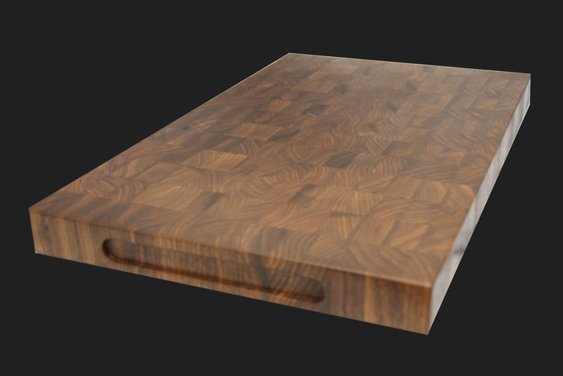 End grain cutting boards with finger grooves
