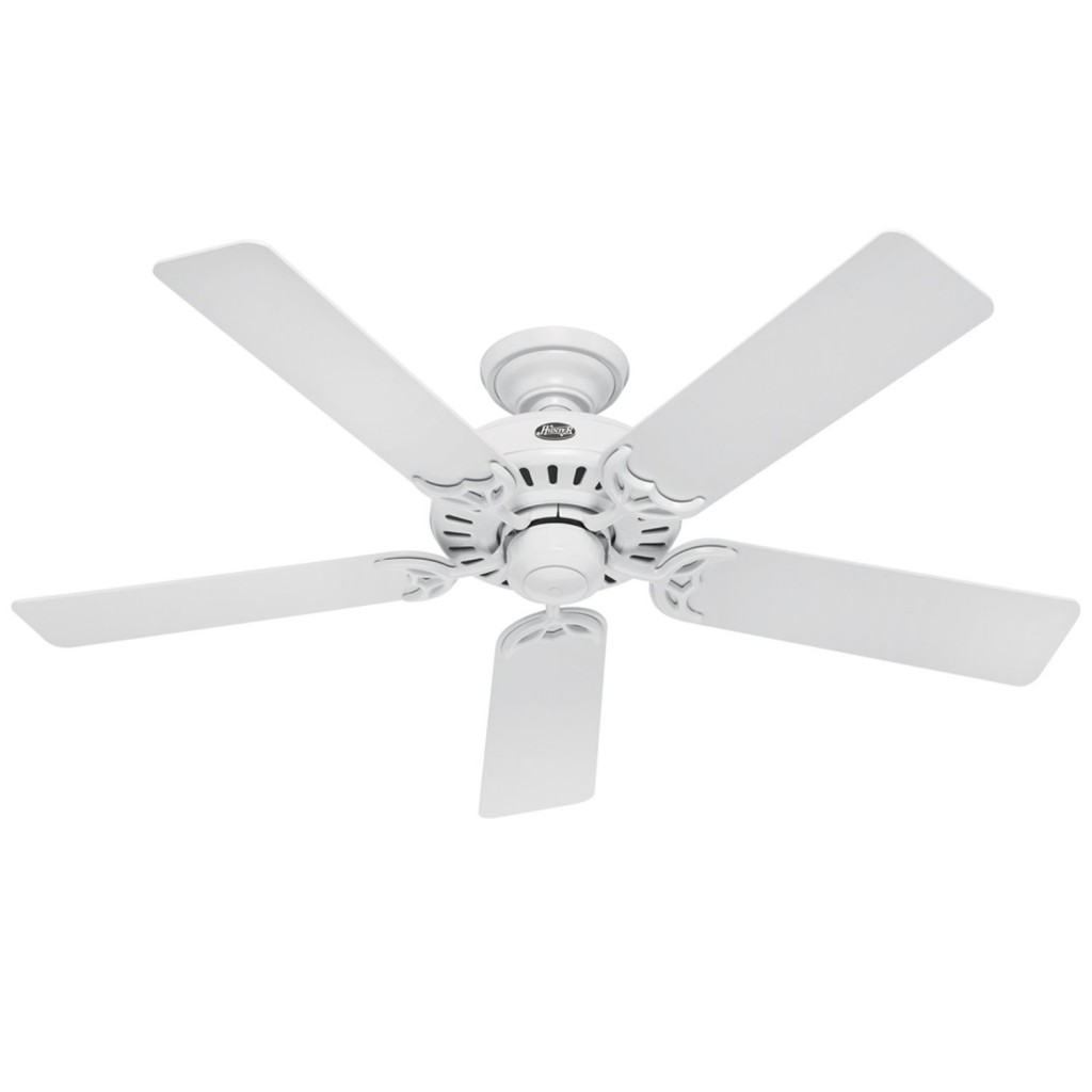 Hampton Bay Hugger 52 Inches White Ceiling Fan With Light