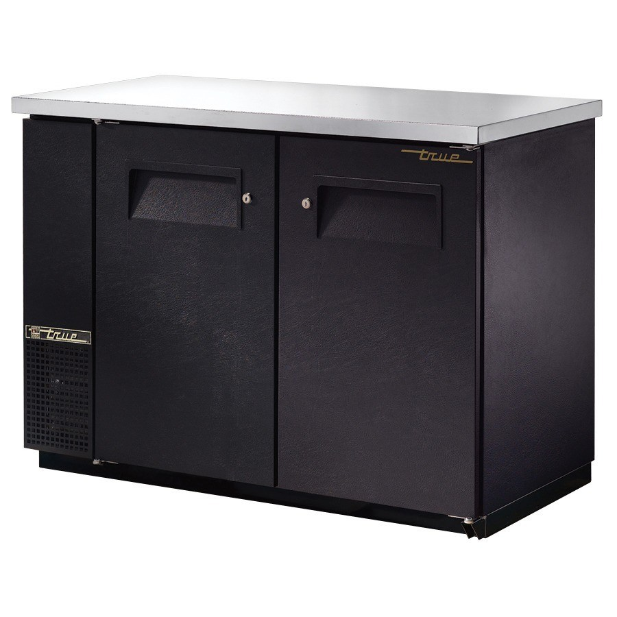 True TBB-24-48 FR 49 Food Rated Back Bar Cooler with 2 Solid Doors - 24 Deep
