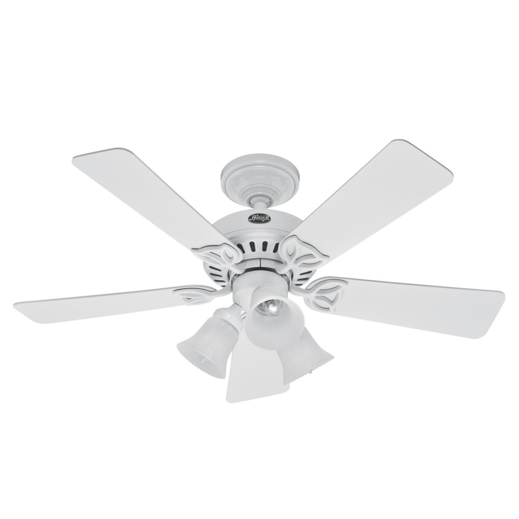 Hunter 20436 Beacon Hill Three-Light 42-Inch Five-Blade Ceiling Fan, White with Frosted Globes