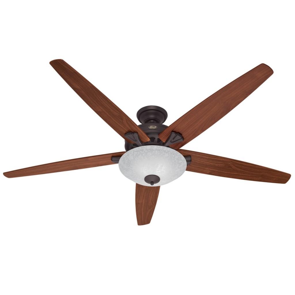 Hunter 23963 Stockbridge 70-Inch 3-Speed Ceiling Fan with 5 Walnut Medium-Oak Blades and Light Fixture, New Bronze