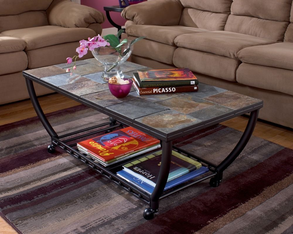 Antigo Cocktail Table with Slate Tiles and Casters