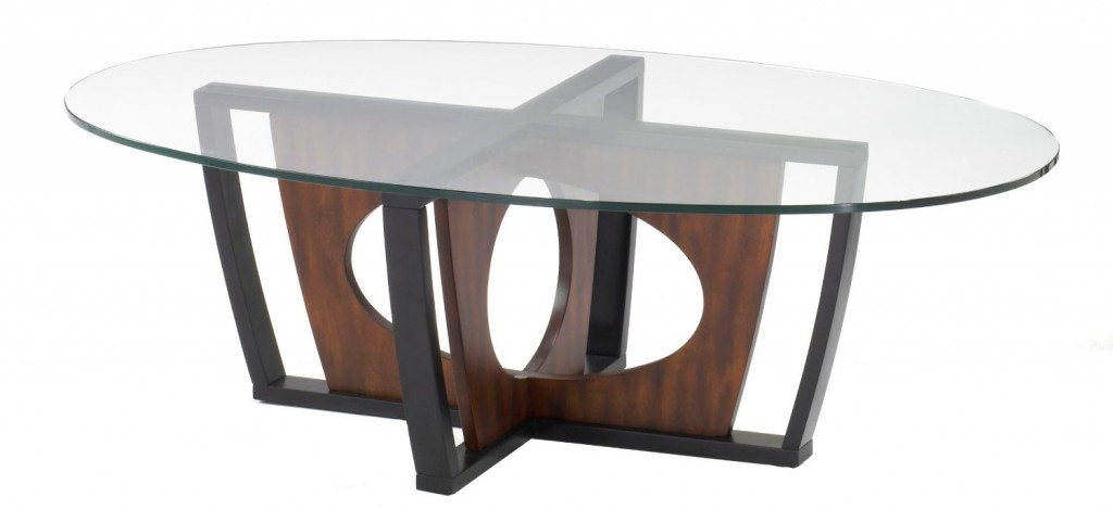 Armen Living 6207 Decca Oval Glass Top Coffee Table