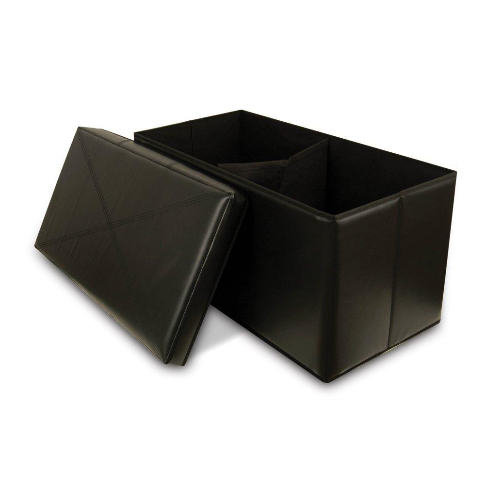 Bench Faux-Leather Storage Ottoman, Black