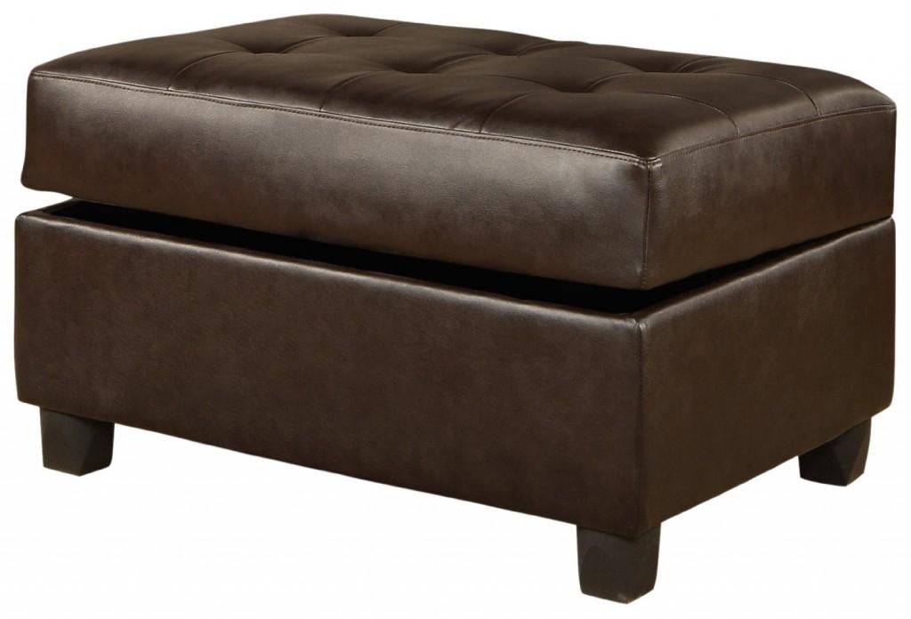 Bobkona Bonded Leather Match Storage Ottoman