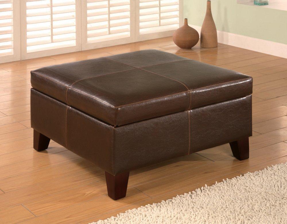 COASTER 501042 Dark Brown Leather Vinyl Storage Ottoman