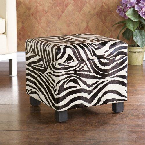 Chipley Faux Leather Storage Ottoman, Zebra Print
