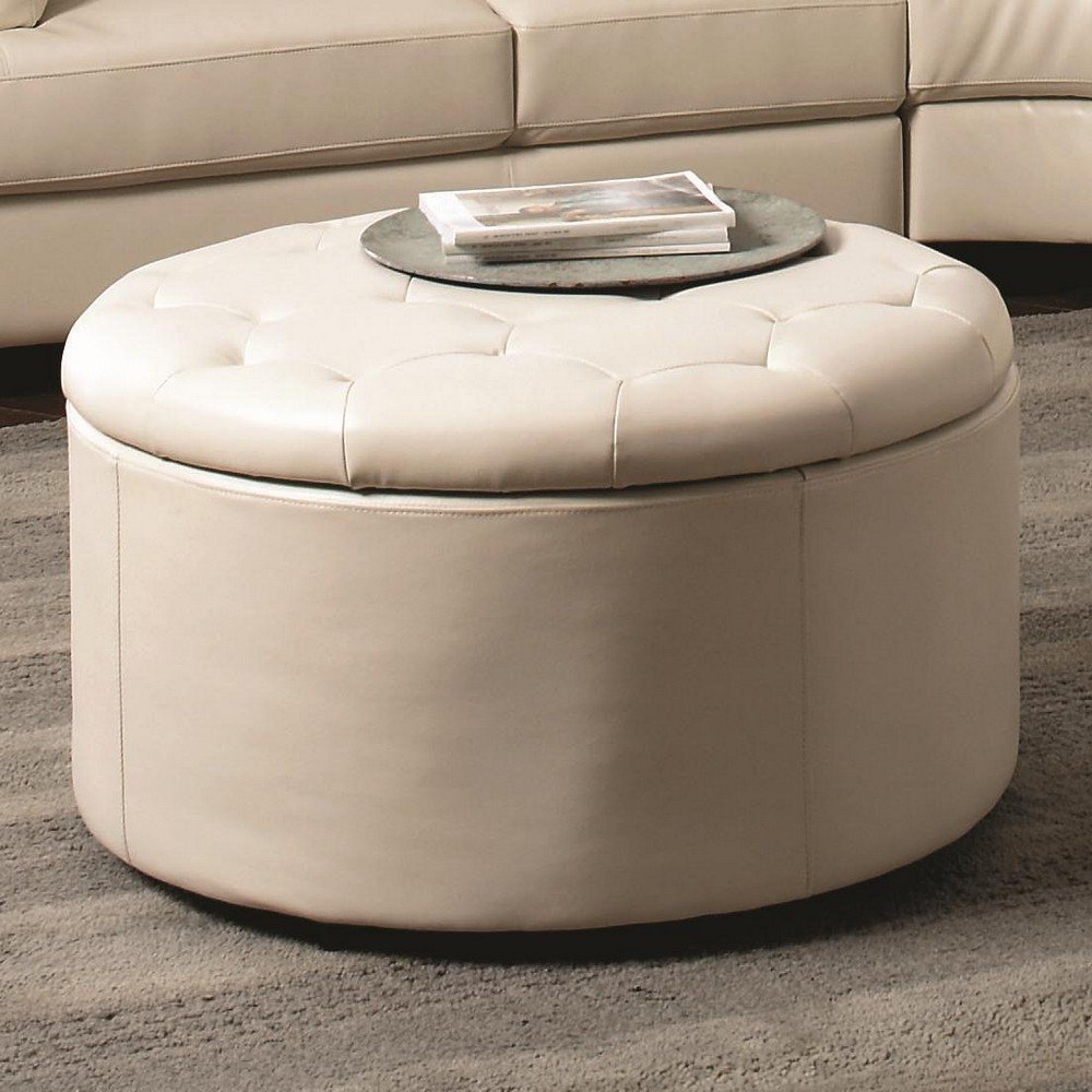Coaster Landen 5 Piece Round Leather Storage Tail Ottoman In Cream