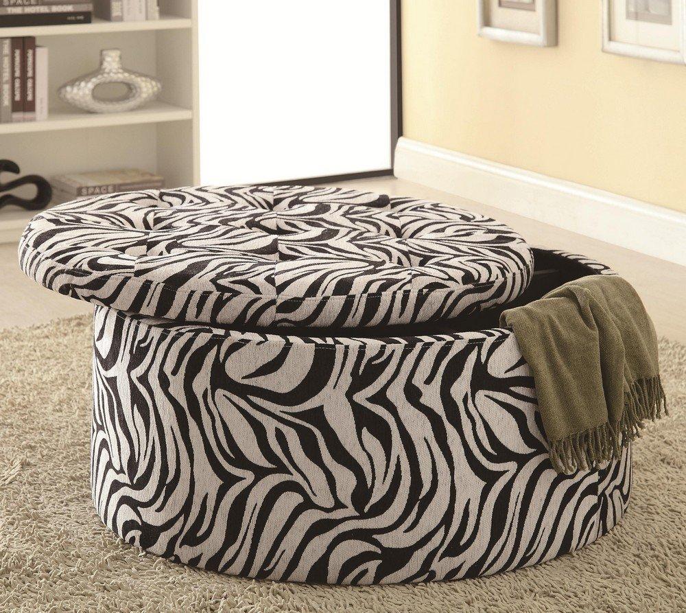 Coaster Storage Ottoman with Tufted Seat in Zebra Print