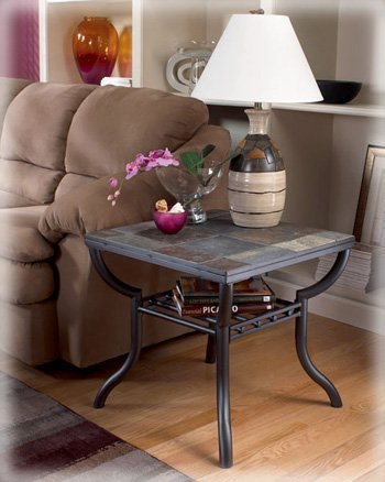 Contemporary Slated Square Living Room End Table