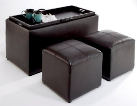 Convenience Concepts Sheridan Faux Leather Storage Bench