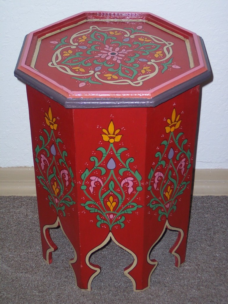 Hand Painted Wood Table side table by Treasures of Morocco