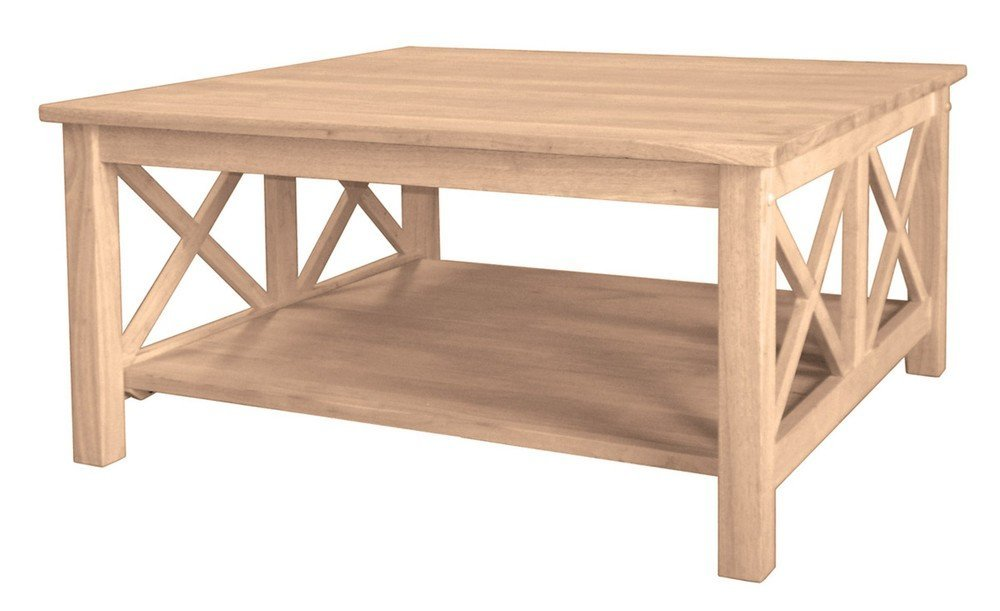 International Concepts OT-70SC Hampton Square Coffee Table Unfinished