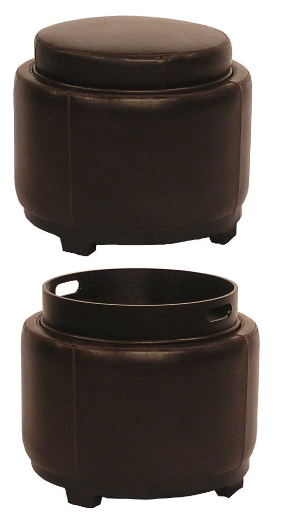 New Pacific Direct Cameron Round Leather Ottoman