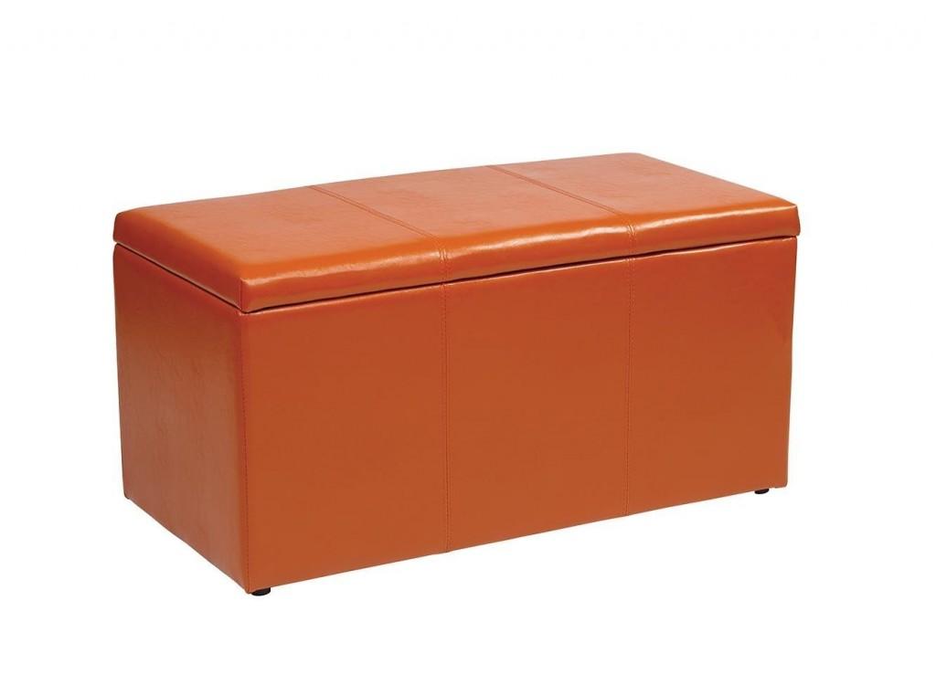 OSP Designs 3-Piece Vinyl Ottoman Set – Orange