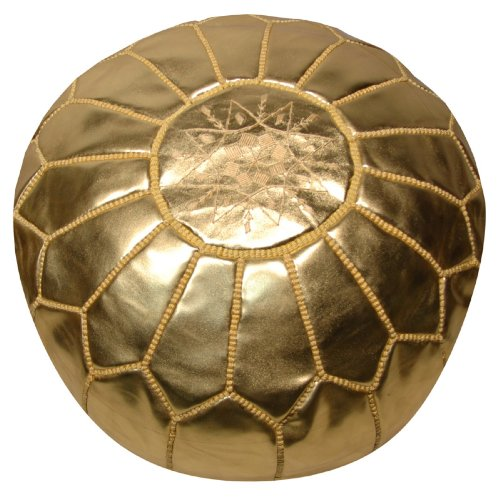 Rosenberry Rooms Moroccan Pouf - Gold Leather