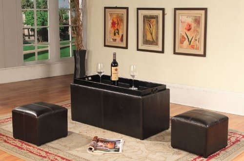 Roundhill Espresso Bonded Leather Storage Coffee Table