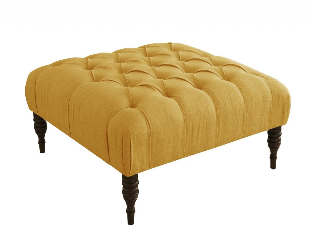 Skyline Furniture Tufted Cocktail Ottoman in Linen French Yellow