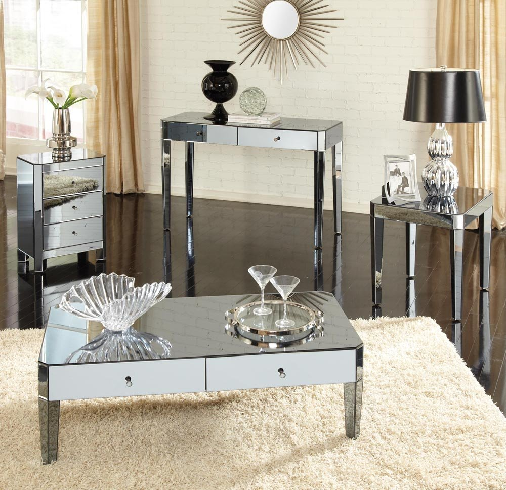Standard Furniture Parisian 4 Piece Mirrored Coffee Table Set
