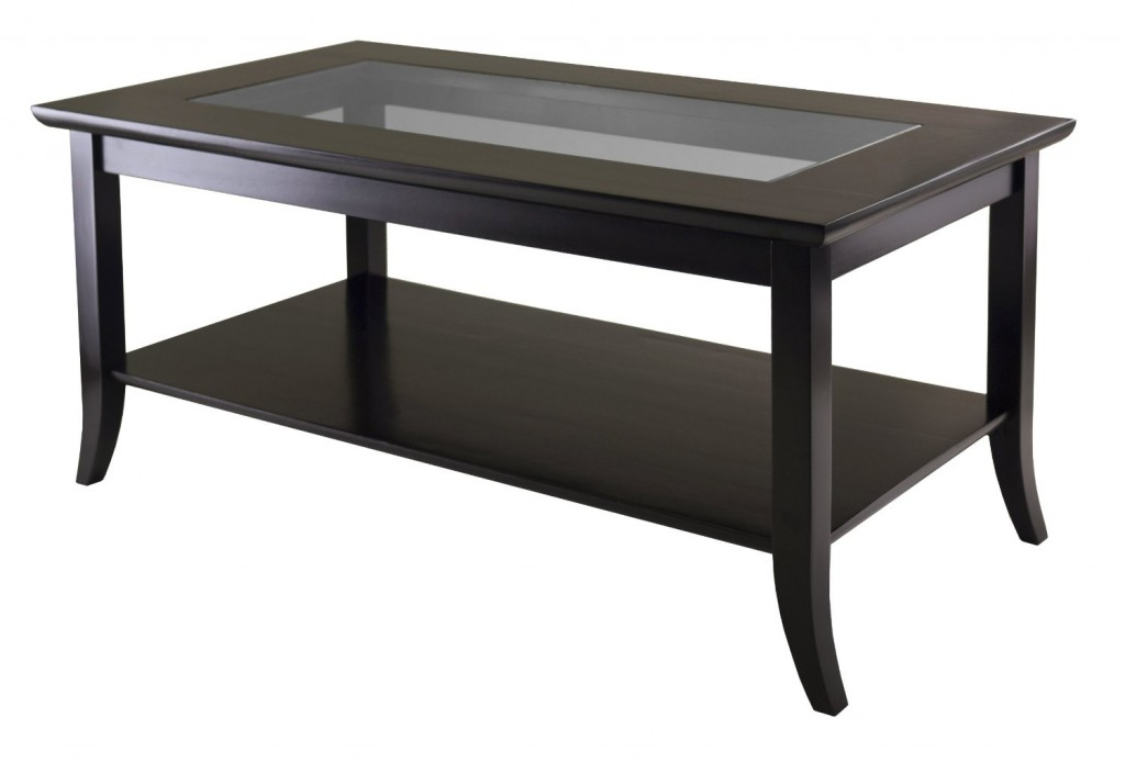 Winsome Genoa Rectanuglar Coffee Table with Glass Top and Shelf