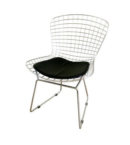 Baxton Studio Tancredo Mesh Side Chair with Leatherette Seat Pad
