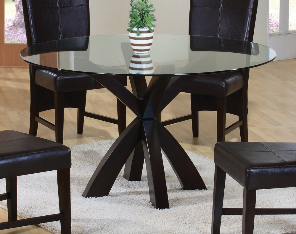 Dining Table with Round Glass Top in Rich Cappuccino
