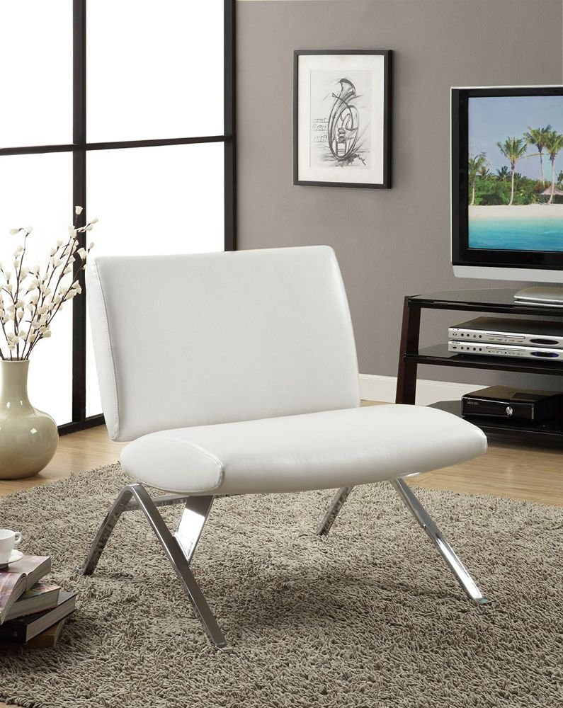 Monarch Faux Leather and Chrome Modern Accent Chair