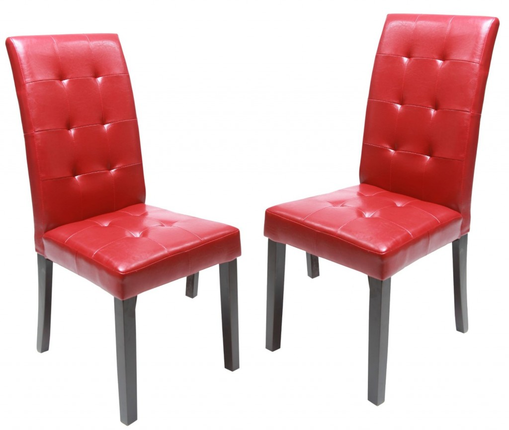 Roundhill Solid Wood Leatherette Padded Parson Stitches Design Chair, Set of 2