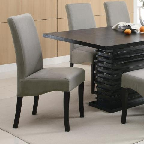 Set of 2 Parson Dining Chairs in Gray Microfiber