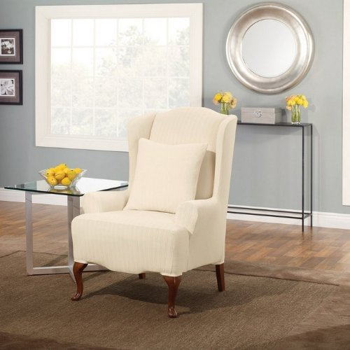 Sure Fit Stretch Pinstripe Wing Chair Slipcover