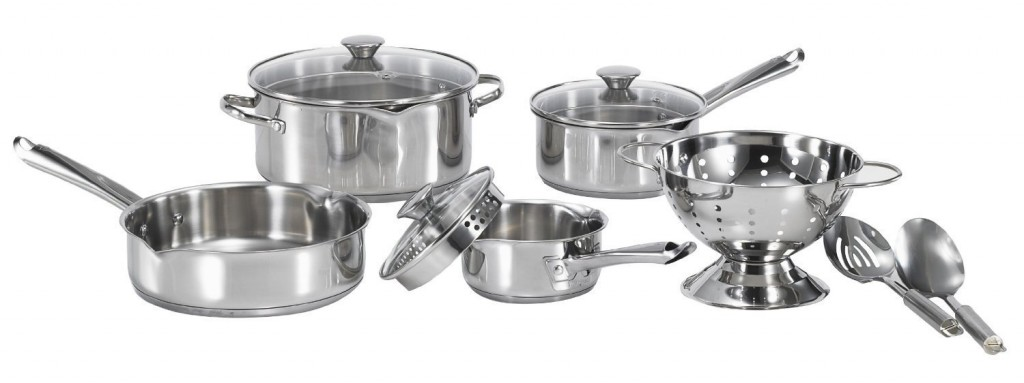 T-FAL A834SA65 Wearever Cook and Strain Stainless Steel 10 Piece Cookware Set