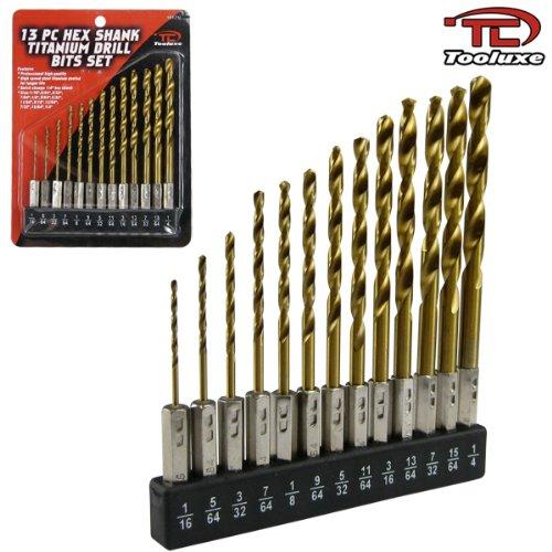 Tooluxe 13-Piece Hex Shank Titanium Coated Drill Bit Set