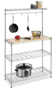 Bakers Rack with Wood Top - Organize your kitchen in a convenient way