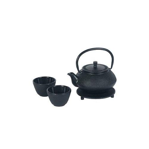 Japanese Cast Iron Pot tea set Black ARR