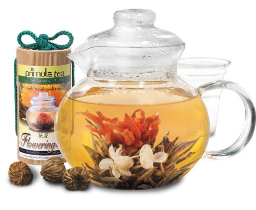 Primula 40 Ounce Blossom Glass Teapot with Tea Infuser