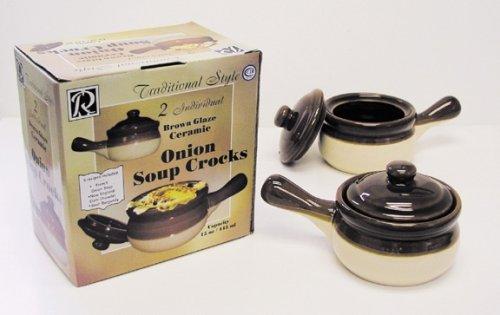R & M International Set of 2 Individual Onion Soup Crocks