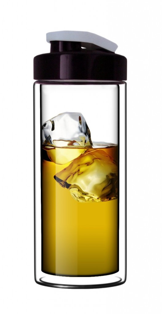 Sun's Tea (TM) 18oz Ultra Clear Double-Wall Glass Travel Mug