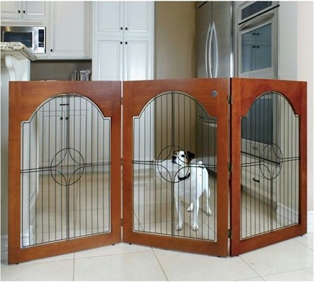 Majestic Pet- Free Standing Wood And Wire Pet Gate