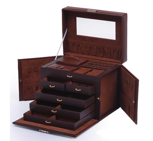 Shining Image Brown LEATHER JEWELRY BOX