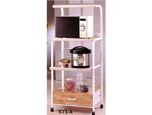White Finish Kitchen Microwave Cart