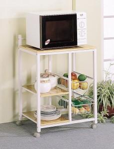 White Natural Finish Kitchen Microwave Cart