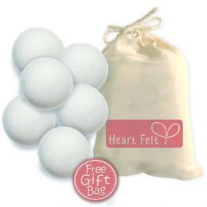 Six Wool Dryer Balls By Heart Felt