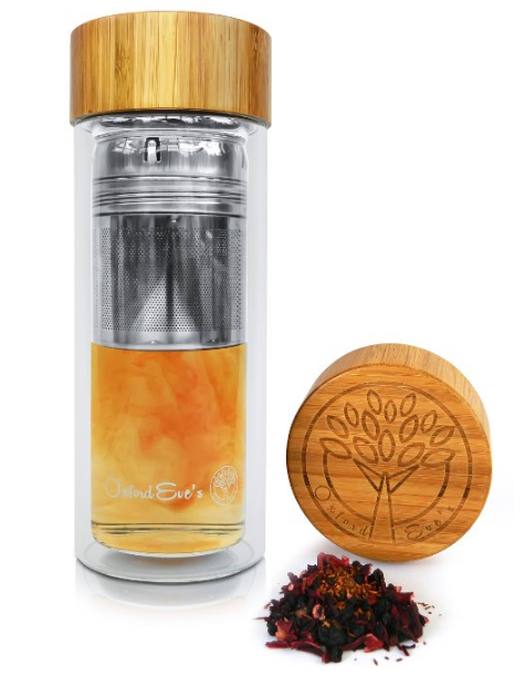 Tea Infuser Glass Tumbler by Oxford Eve's with Bamboo Lid