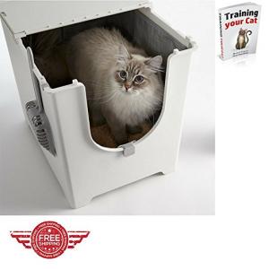modern flip top corner enclosed cat litter box